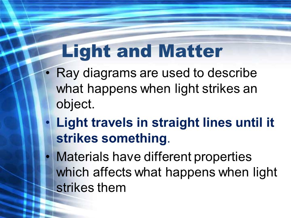 Light and Matter Ray diagrams are used to describe what happens when light strikes an object.