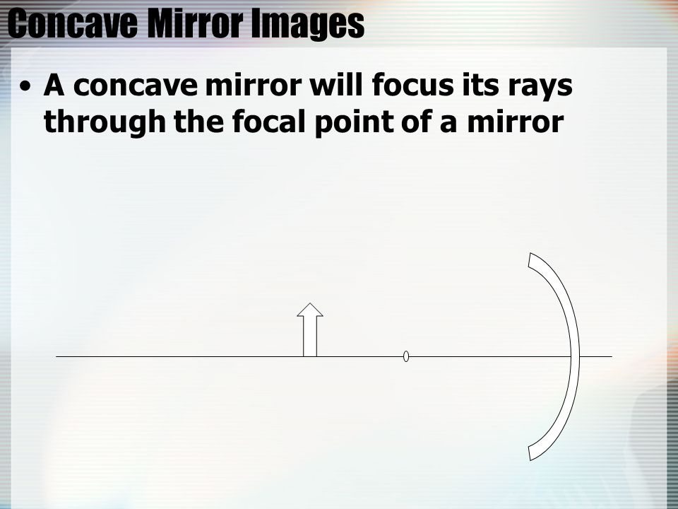 Concave Mirror Images A concave mirror will focus its rays through the focal point of a mirror