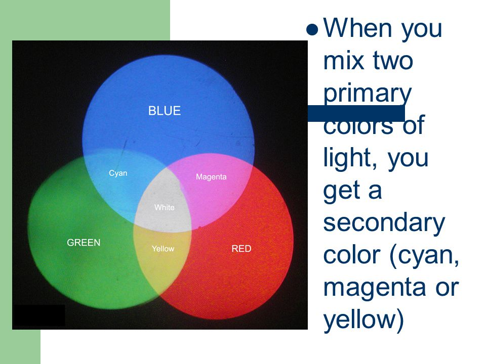 When you mix two primary colors of light, you get a secondary color (cyan, magenta or yellow)