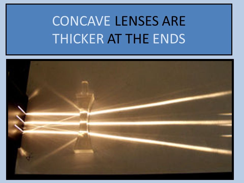 CONCAVE LENSES ARE THICKER AT THE ENDS