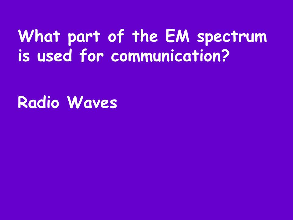 What part of the EM spectrum is used for communication Radio Waves
