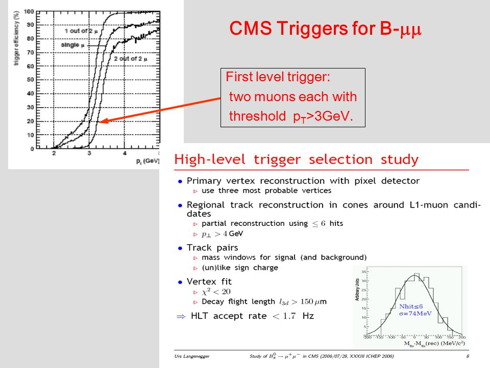 9 CMS Triggers for B-  First level trigger: two muons each with threshold p T >3GeV.