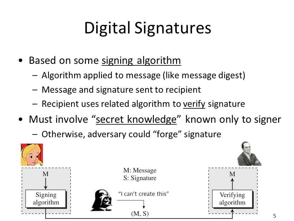 5 Digital Signatures Based on some signing algorithm –Algorithm applied to message (like message digest) –Message and signature sent to recipient –Recipient uses related algorithm to verify signature Must involve secret knowledge known only to signer –Otherwise, adversary could forge signature I can't create this