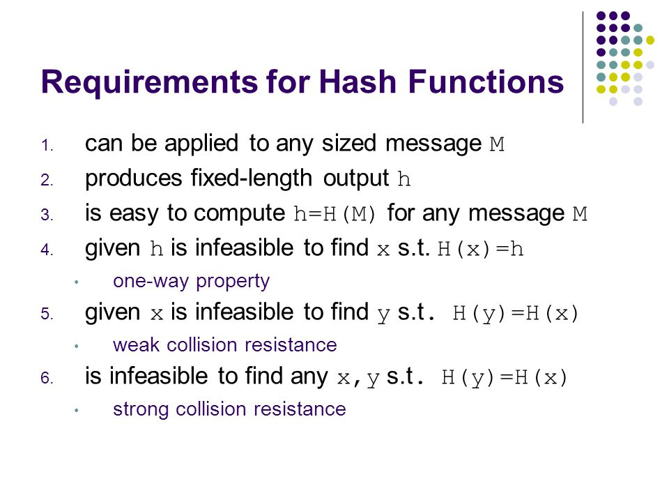 Requirements for Hash Functions 1. can be applied to any sized message M 2.