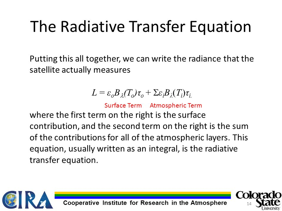 Cooperative Institute for Research in the Atmosphere The Radiative Transfer Equation Putting this all together, we can write the radiance that the satellite actually measures L = ε o B (T o )τ o +  ε i B λ (T i )τ i.