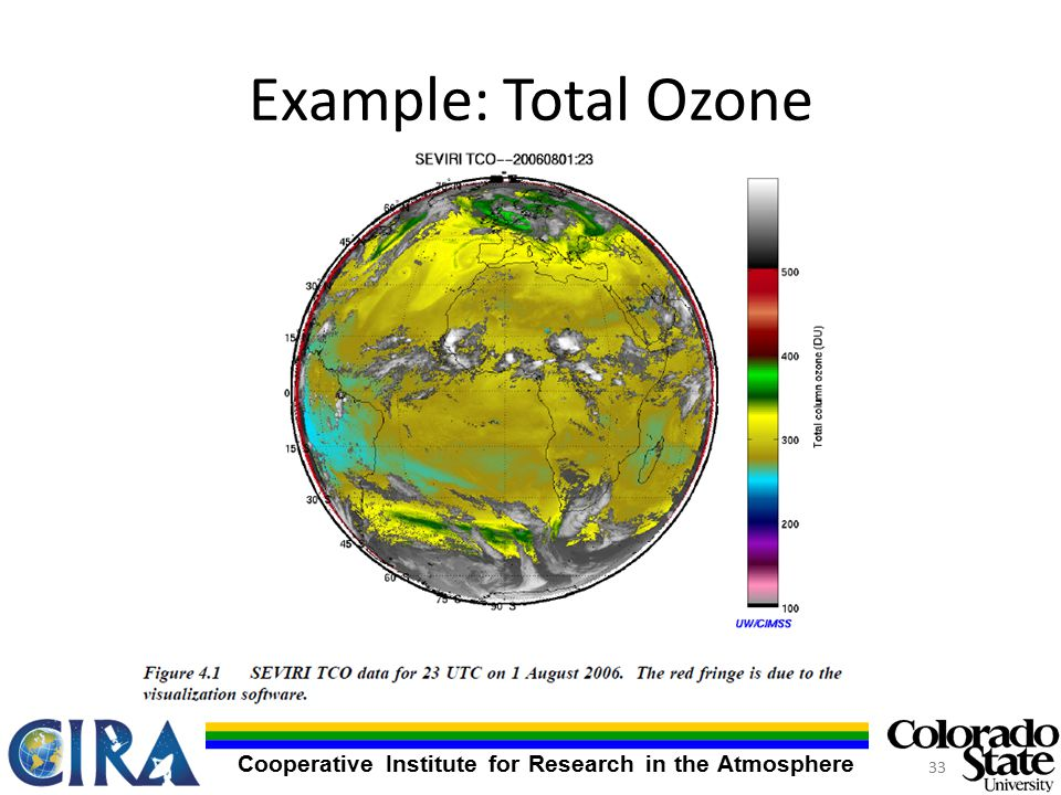 Cooperative Institute for Research in the Atmosphere Example: Total Ozone 33