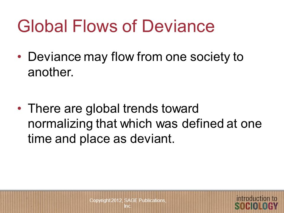 Global Flows of Deviance Deviance may flow from one society to another.