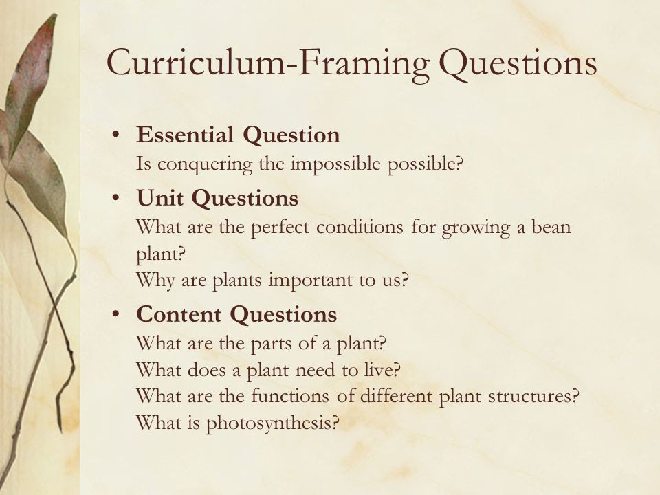 Curriculum-Framing Questions Essential Question Is conquering the impossible possible.