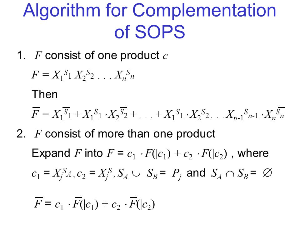 Algorithm for Complementation of SOPS 1.F consist of one product c F = X 1 S 1 X 2 S 2...