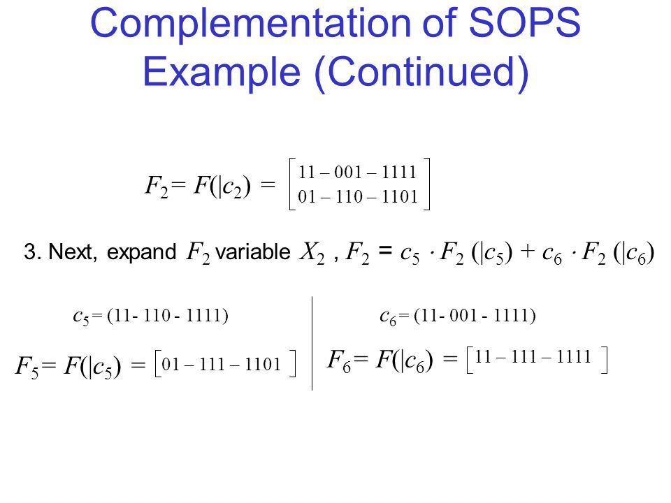 Complementation of SOPS Example (Continued) F 2 = F(|c 2 ) = 01 – 111 – 1101 11 – 111 – 1111 3.