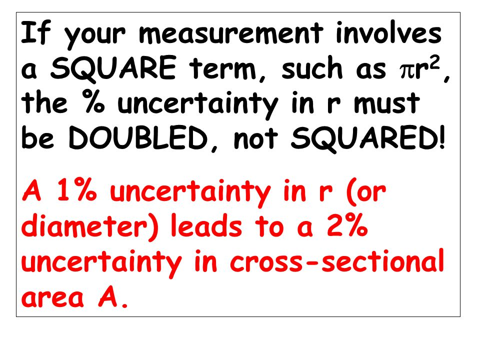 Young's modulus = Stress/Strain = Force x length Area x extension +/- 1% +/- 6% +/- 2% Overall uncertainty: +/- 11%