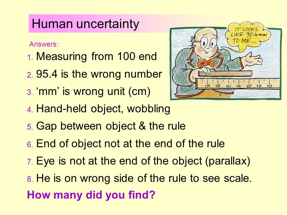 Human uncertainty Example 1 Professor Messer is trying to measure the length of a piece of wood: Discuss what he is doing wrong.