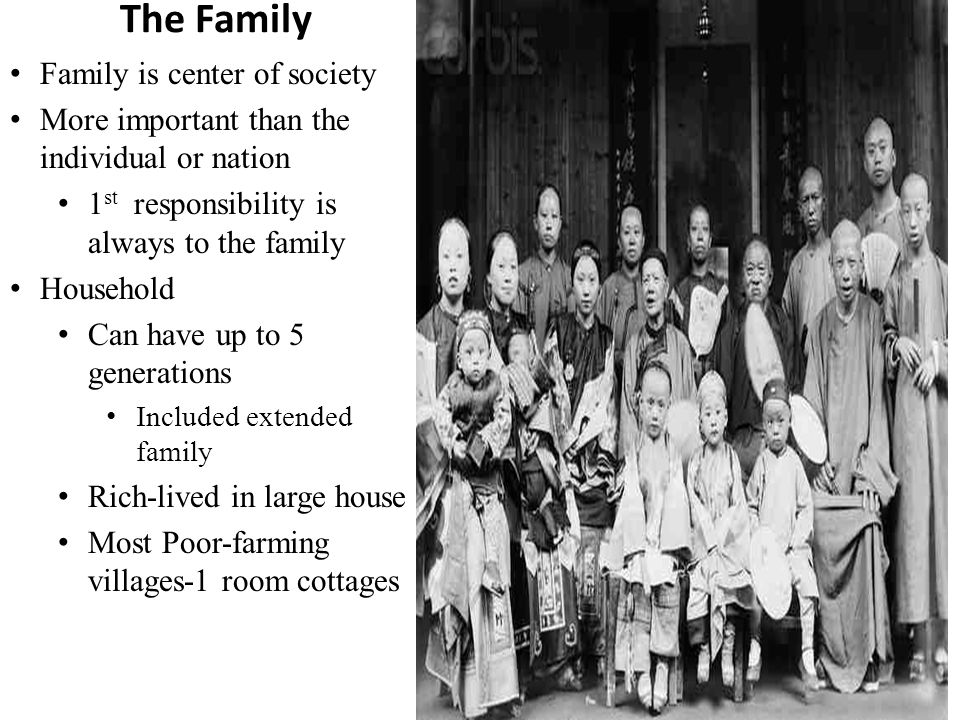 The Family Family is center of society More important than the individual or nation 1 st responsibility is always to the family Household Can have up to 5 generations Included extended family Rich-lived in large house Most Poor-farming villages-1 room cottages