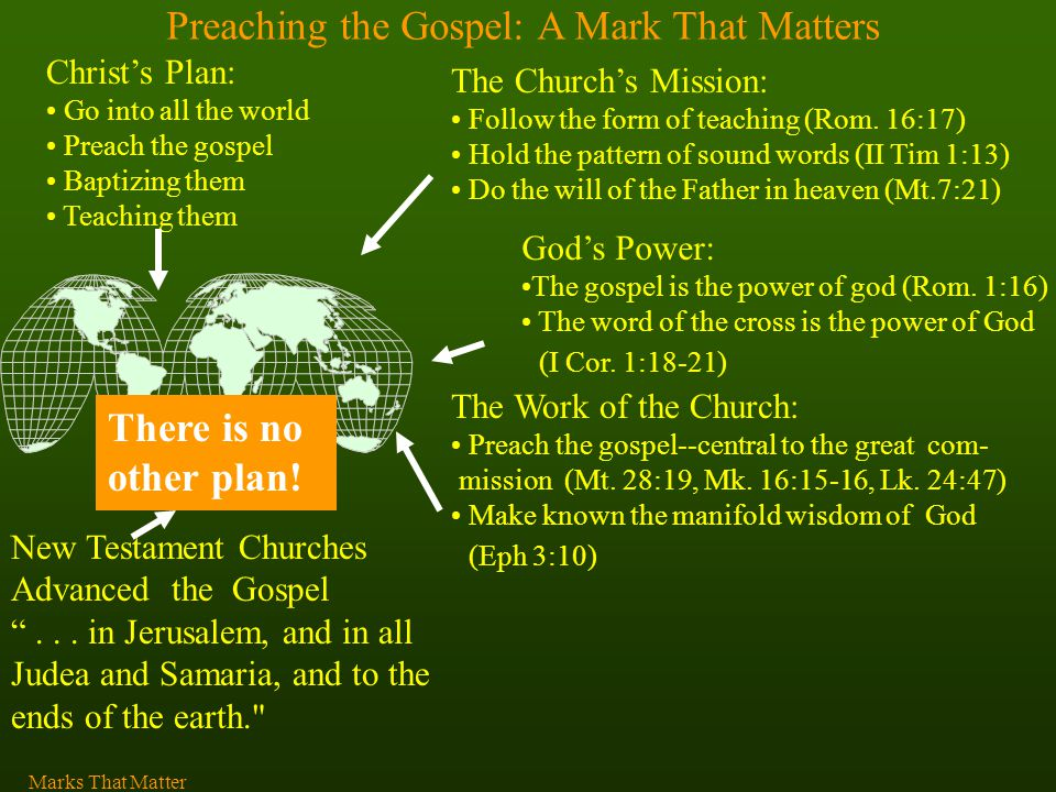 Preaching the Gospel: A Mark That Matters Christ's Plan: Go into all the world Preach the gospel Baptizing them Teaching them There is no other plan.