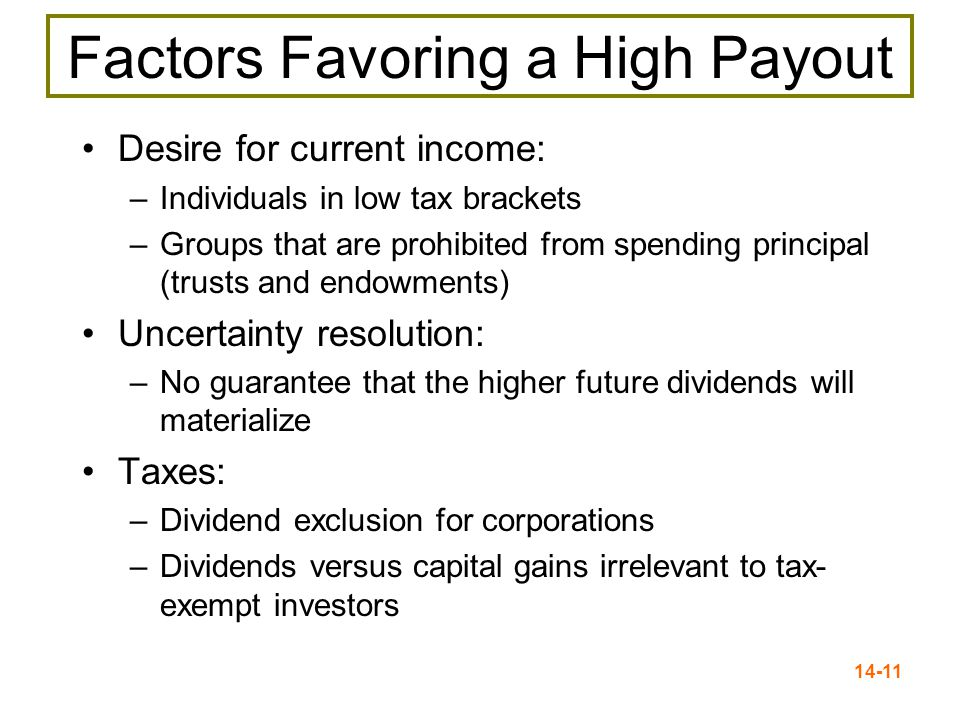 14-11 Factors Favoring a High Payout Desire for current income: –Individuals in low tax brackets –Groups that are prohibited from spending principal (trusts and endowments) Uncertainty resolution: –No guarantee that the higher future dividends will materialize Taxes: –Dividend exclusion for corporations –Dividends versus capital gains irrelevant to tax- exempt investors