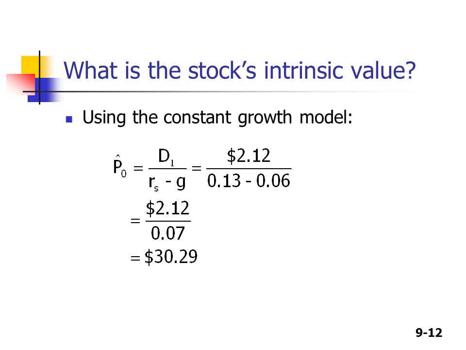 9-12 What is the stock's intrinsic value Using the constant growth model: