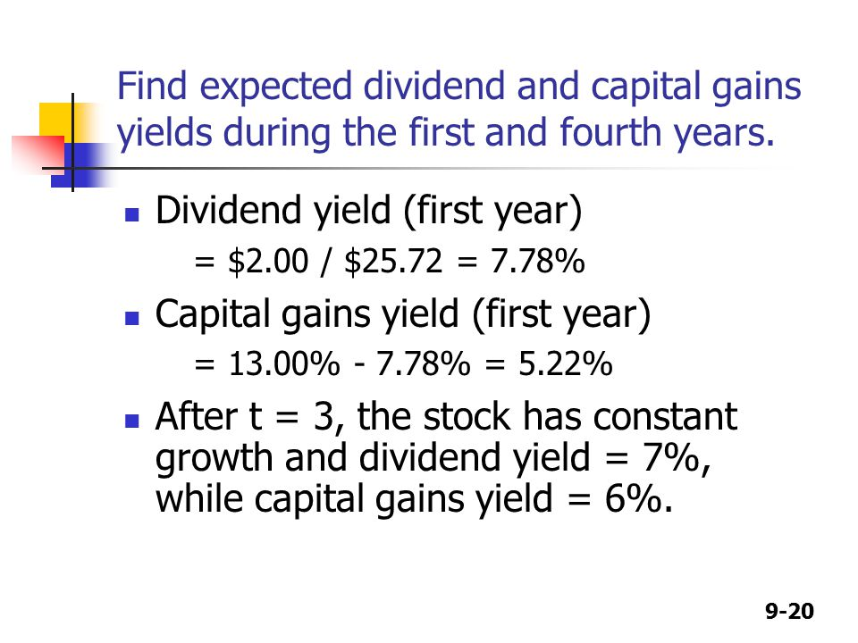 9-20 Find expected dividend and capital gains yields during the first and fourth years.