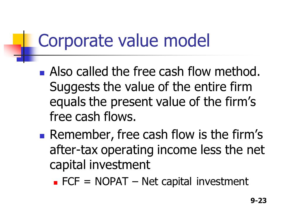 9-23 Corporate value model Also called the free cash flow method.