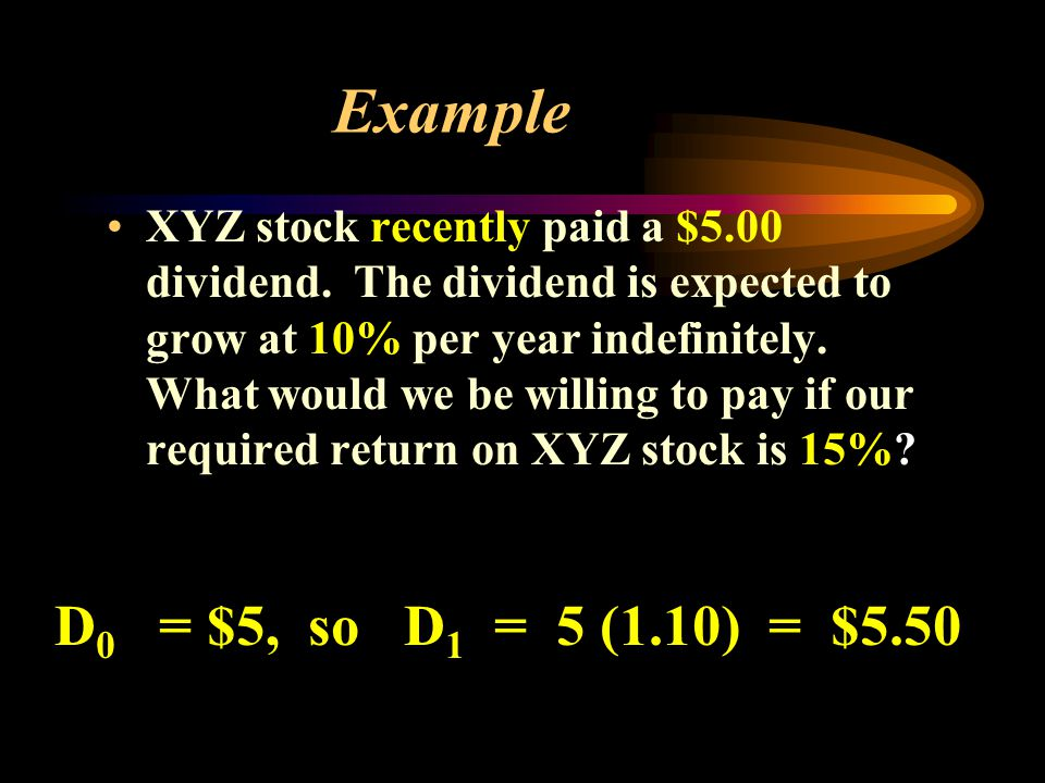 Example XYZ stock recently paid a $5.00 dividend.