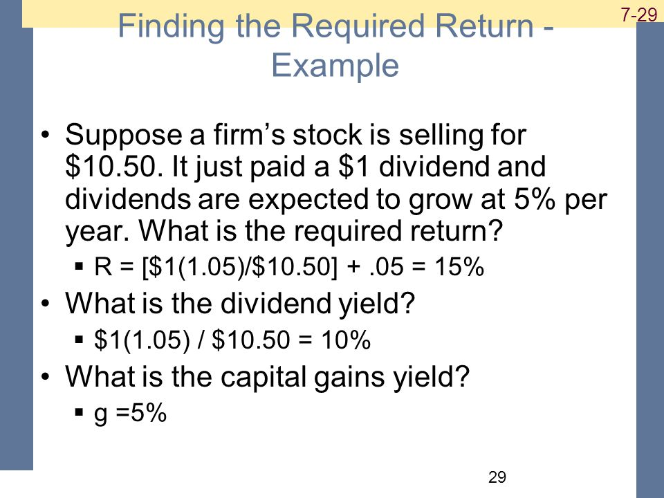 Finding the Required Return - Example Suppose a firm's stock is selling for $10.50.