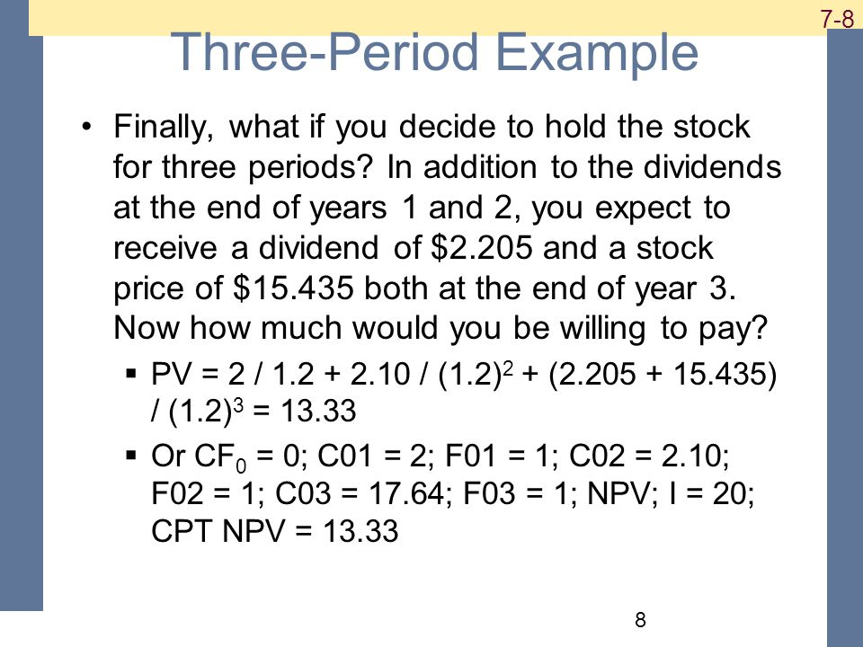 Three-Period Example Finally, what if you decide to hold the stock for three periods.