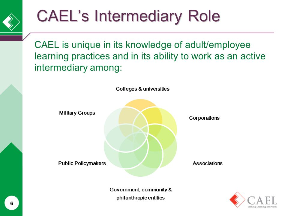 CAEL's Intermediary Role 6 CAEL is unique in its knowledge of adult/employee learning practices and in its ability to work as an active intermediary among: Colleges & universities Corporations Associations Government, community & philanthropic entities Public Policymakers Military Groups