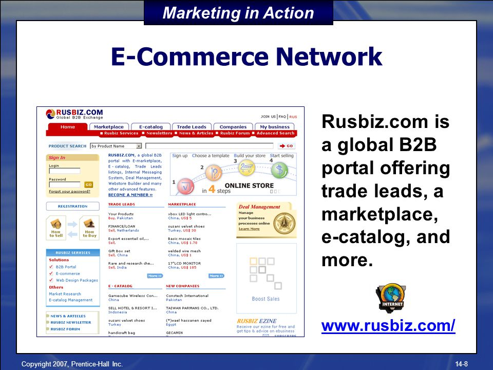 Copyright 2007, Prentice-Hall Inc.14-8 E-Commerce Network Rusbiz.com is a global B2B portal offering trade leads, a marketplace, e-catalog, and more.