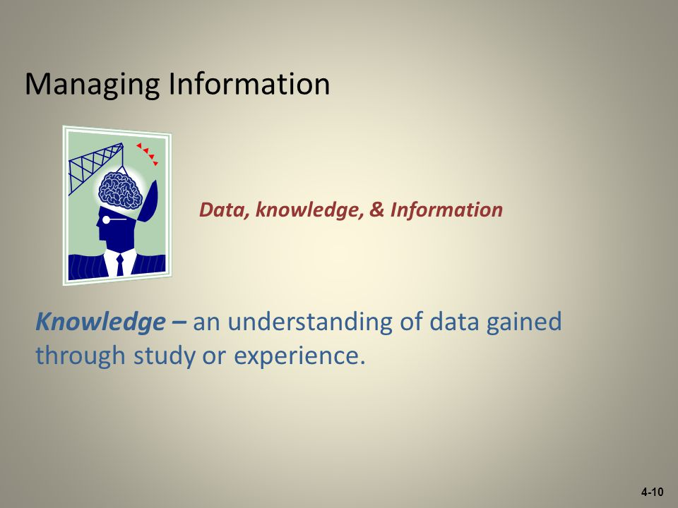 4-10 Managing Information Knowledge – an understanding of data gained through study or experience.