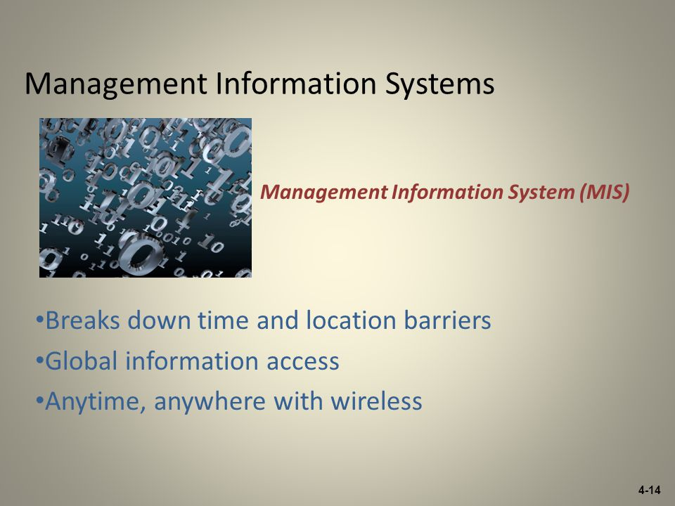 4-14 Management Information Systems Breaks down time and location barriers Global information access Anytime, anywhere with wireless Management Information System (MIS)
