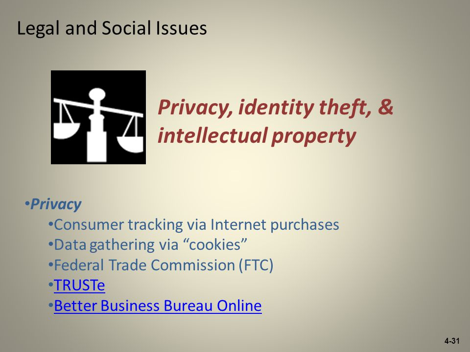 4-31 Legal and Social Issues Privacy Consumer tracking via Internet purchases Data gathering via cookies Federal Trade Commission (FTC) TRUSTe Better Business Bureau Online Privacy, identity theft, & intellectual property
