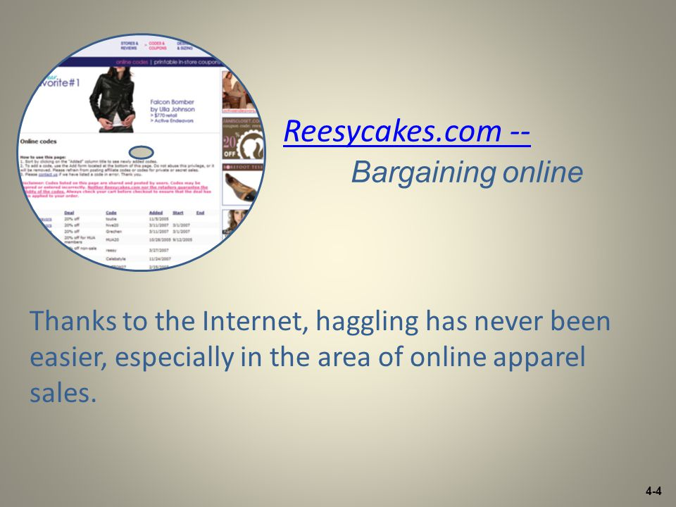 4-4 Reesycakes.com -- Reesycakes.com -- Bargaining online Thanks to the Internet, haggling has never been easier, especially in the area of online apparel sales.