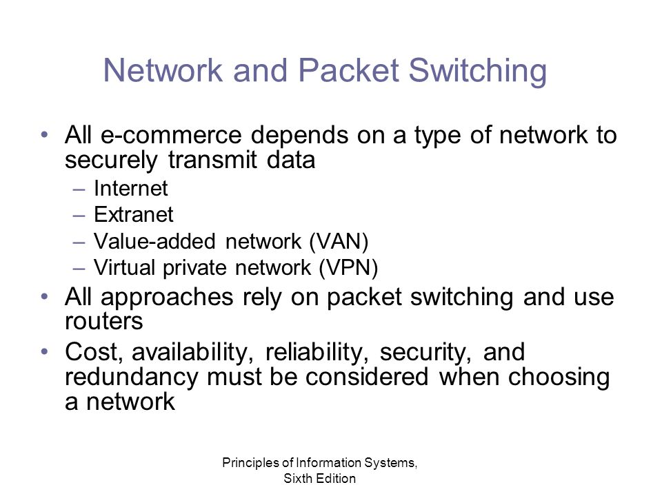 Principles of Information Systems, Sixth Edition Network and Packet Switching All e-commerce depends on a type of network to securely transmit data –Internet –Extranet –Value-added network (VAN) –Virtual private network (VPN) All approaches rely on packet switching and use routers Cost, availability, reliability, security, and redundancy must be considered when choosing a network