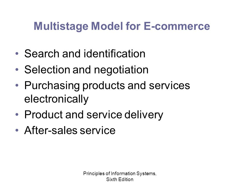 Principles of Information Systems, Sixth Edition Multistage Model for E-commerce Search and identification Selection and negotiation Purchasing products and services electronically Product and service delivery After-sales service