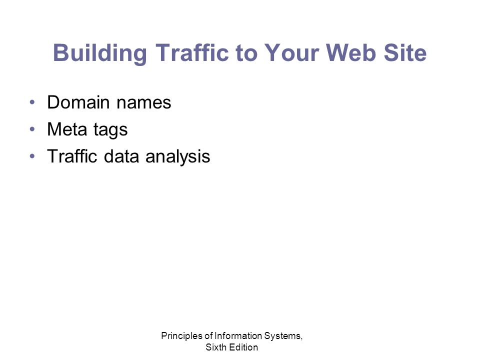 Principles of Information Systems, Sixth Edition Building Traffic to Your Web Site Domain names Meta tags Traffic data analysis