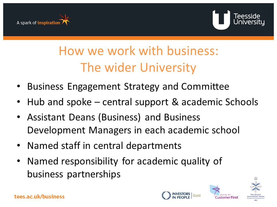 How we work with business: The wider University Business Engagement Strategy and Committee Hub and spoke – central support & academic Schools Assistant Deans (Business) and Business Development Managers in each academic school Named staff in central departments Named responsibility for academic quality of business partnerships