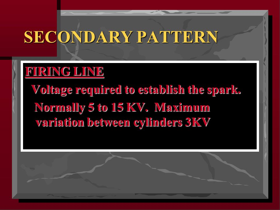 SECONDARY PATTERN FIRING LINE Voltage required to establish the spark.