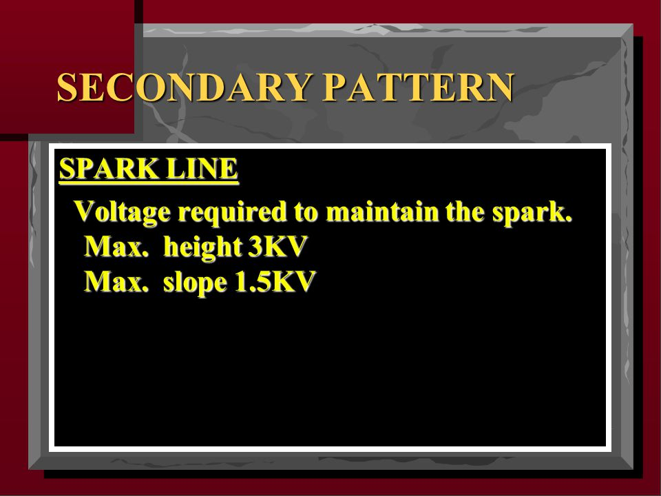 SECONDARY PATTERN SPARK LINE Voltage required to maintain the spark.