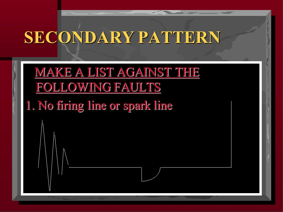 SECONDARY PATTERN MAKE A LIST AGAINST THE FOLLOWING FAULTS MAKE A LIST AGAINST THE FOLLOWING FAULTS 1.