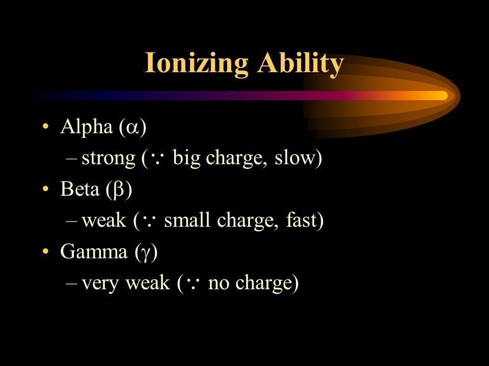Three Types of Radiation Alpha (  ) –helium nucleus : 2 proton+ 2 neutron –charge = +2, heavy Beta (  ) –fast moving electron –charge = -2, light Gamma (  ) –short wavelength electromagnetic wave –no charge, wavelength  10 -12 m