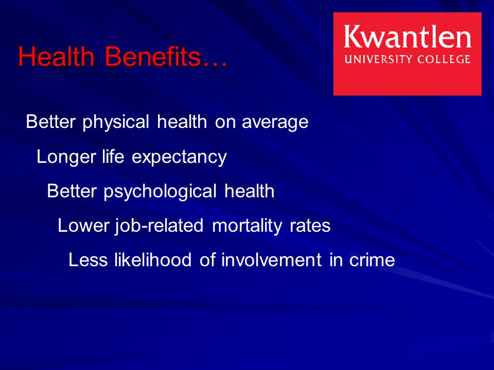 Health Benefits… Better physical health on average Longer life expectancy Better psychological health Lower job-related mortality rates Less likelihood of involvement in crime