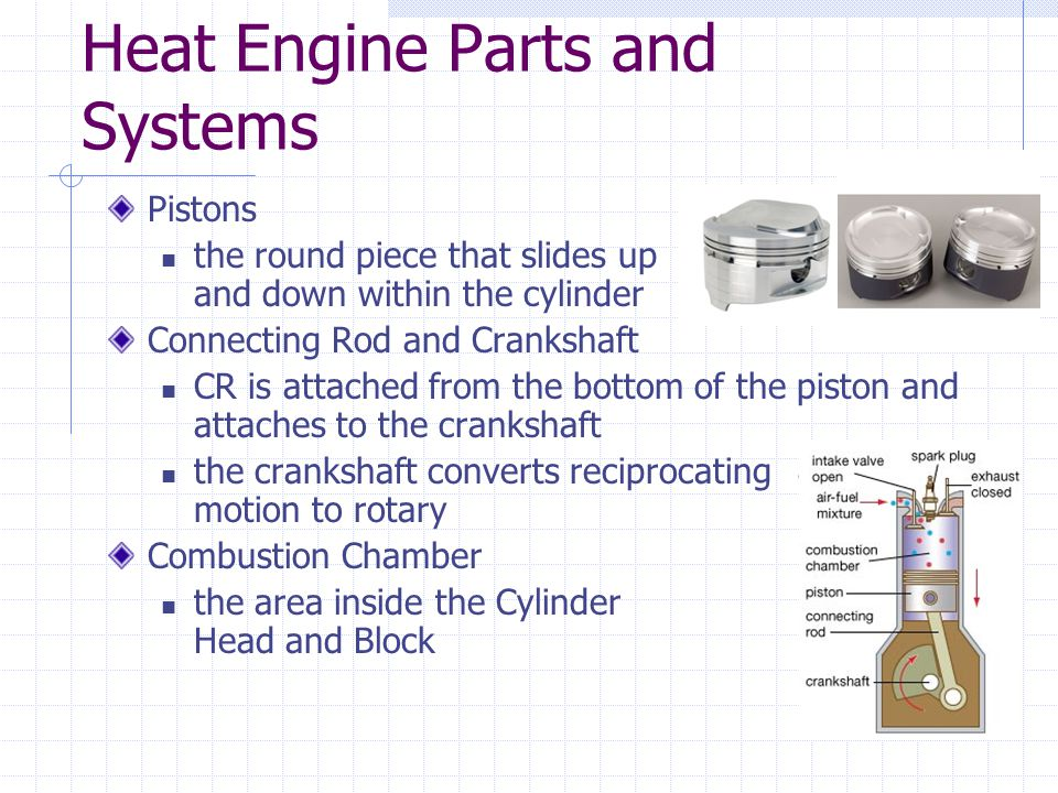 Heat Engine Parts and Systems Pistons the round piece that slides up and down within the cylinder Connecting Rod and Crankshaft CR is attached from the bottom of the piston and attaches to the crankshaft the crankshaft converts reciprocating motion to rotary Combustion Chamber the area inside the Cylinder Head and Block