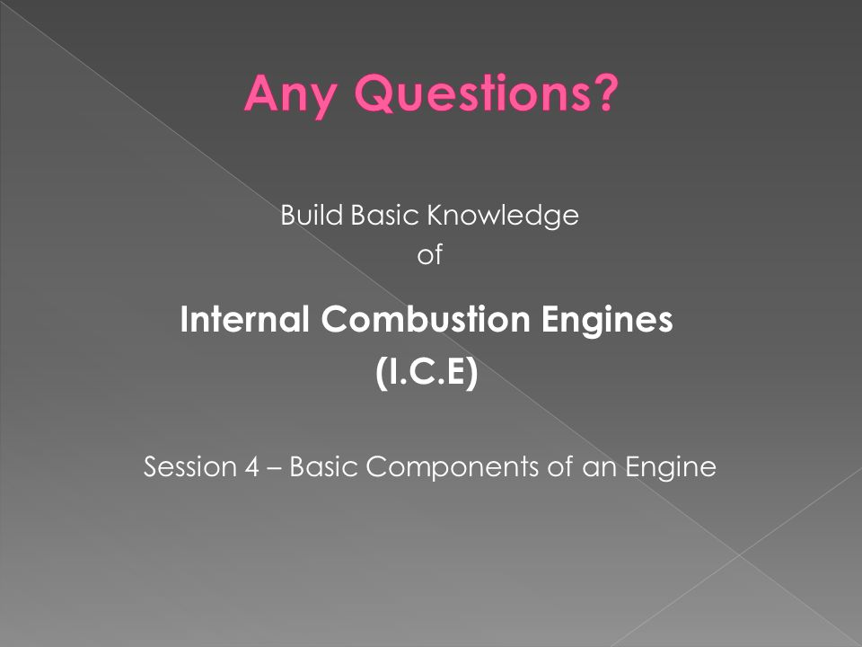 Build Basic Knowledge of Internal Combustion Engines (I.C.E) Session 4 – Basic Components of an Engine