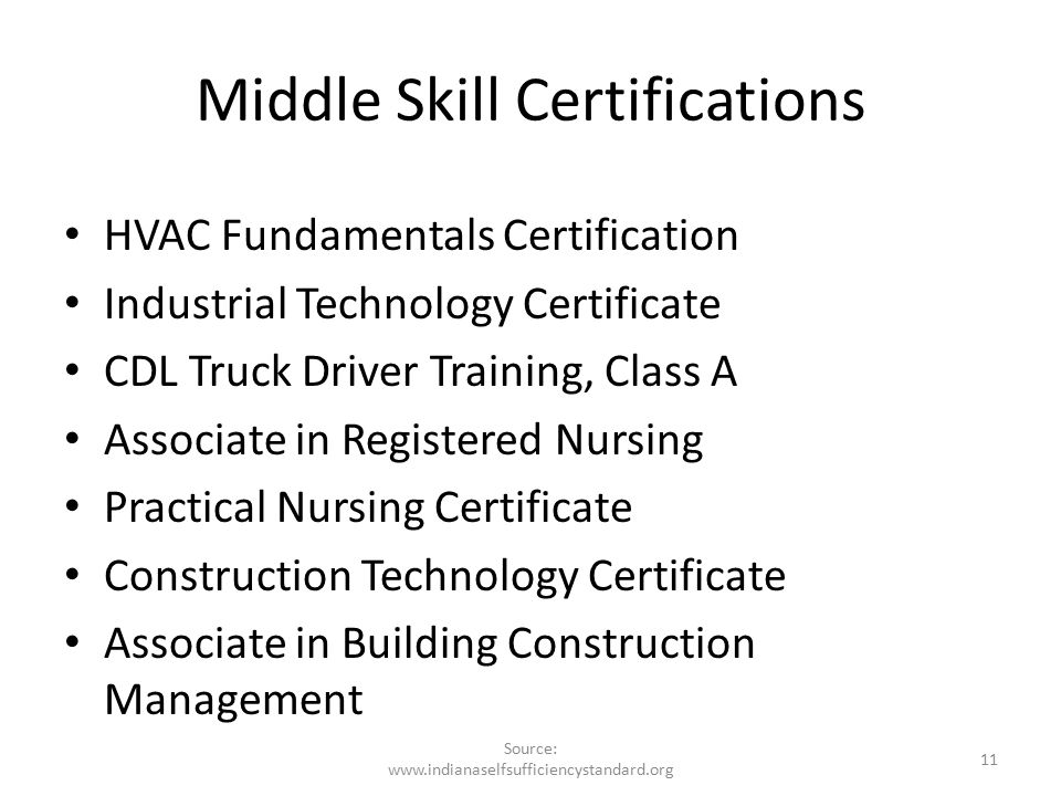 Middle Skill Certifications HVAC Fundamentals Certification Industrial Technology Certificate CDL Truck Driver Training, Class A Associate in Registered Nursing Practical Nursing Certificate Construction Technology Certificate Associate in Building Construction Management 11 Source: