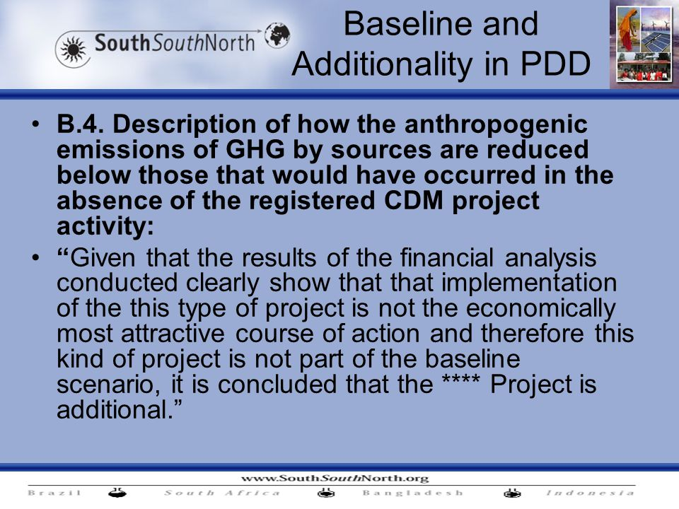 Baseline and Additionality in PDD B.4.