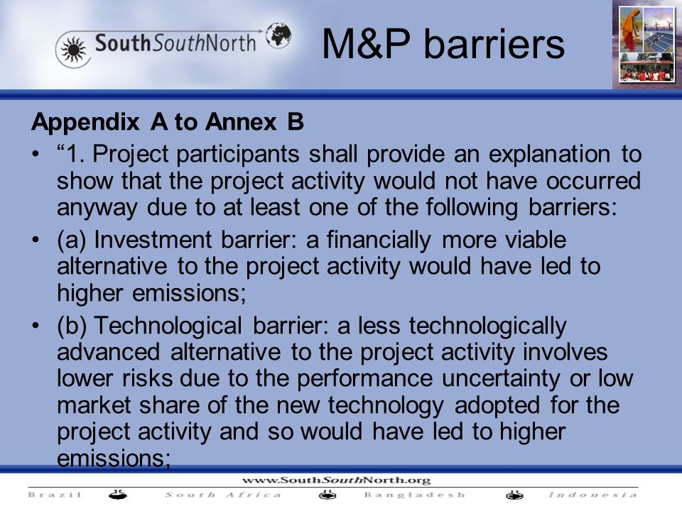 M&P barriers Appendix A to Annex B 1.