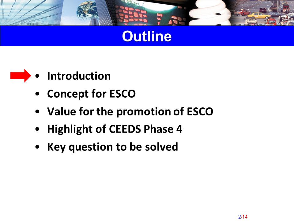 2/14 Introduction Concept for ESCO Value for the promotion of ESCO Highlight of CEEDS Phase 4 Key question to be solved Outline