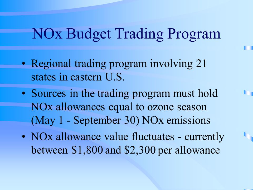 NOx Budget Trading Program Regional trading program involving 21 states in eastern U.S.