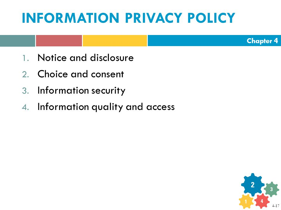 Chapter 4 INFORMATION PRIVACY POLICY 1. Notice and disclosure 2.