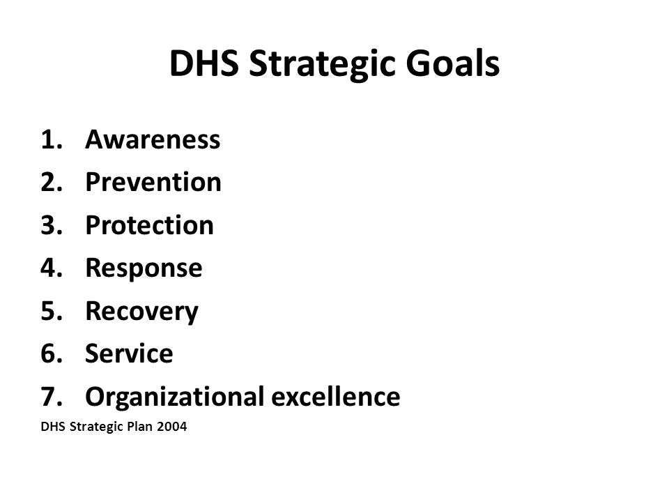 DHS Strategic Goals 1.Awareness 2.Prevention 3.Protection 4.Response 5.Recovery 6.Service 7.Organizational excellence DHS Strategic Plan 2004