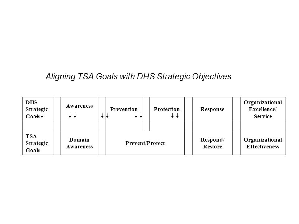 Aligning TSA Goals with DHS Strategic Objectives DHS Strategic Goals Awareness PreventionProtectionResponse Organizational Excellence/ Service TSA Strategic Goals Domain Awareness Prevent/Protect Respond/ Restore Organizational Effectiveness